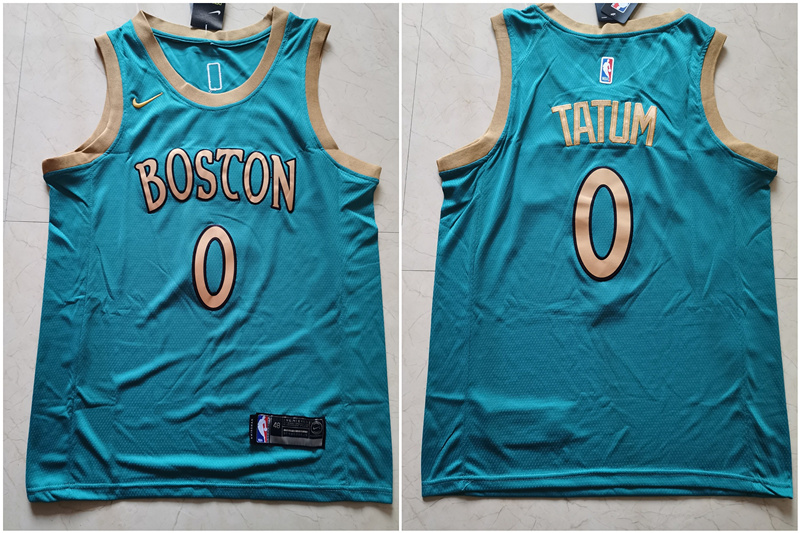 Celtics 0 Jayson Tatum Blue 2019-20 City Edition Swingman Jersey
