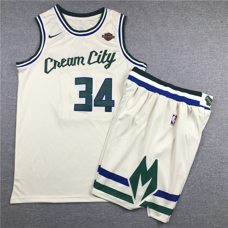Bucks 34 Giannis Antetokounmpo Cream 2019-20 City Edition Nike Swingman Jersey(With Shorts)