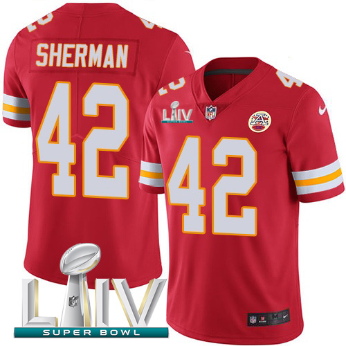 Nike Chiefs 42 Anthony Sherman Red 2020 Super Bowl LIV Vapor Untouchable Limited Jersey