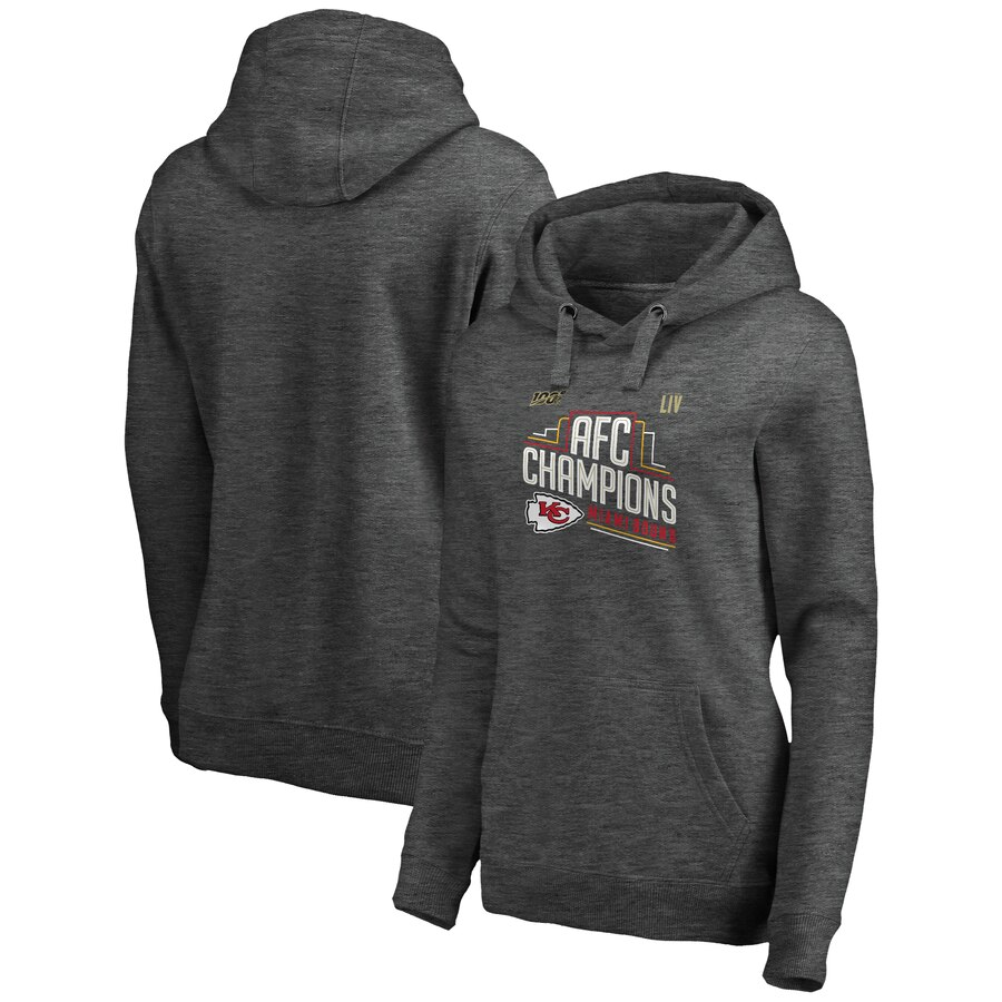 Kansas City Chiefs NFL Pro Line by Fanatics Branded Women's 2019 AFC Champions Trophy Collection Locker Room Crossover V Neck Pullover Hoodie Heather Charcoal