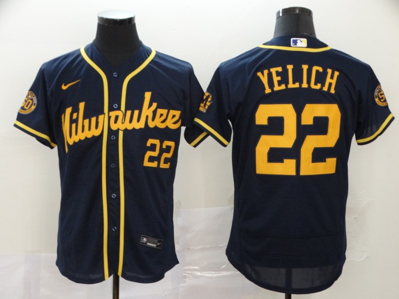 Brewers 22 Christian Yelich Navy Nike 2020 Flexbase Jersey