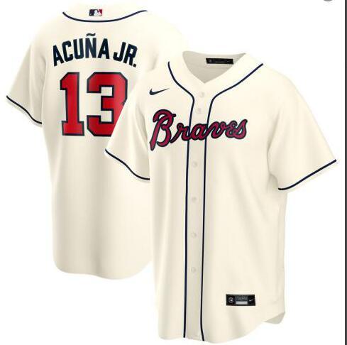 Braves 13 Ronald Acuna Jr. Cream 2020 Nike Cool Base Jersey
