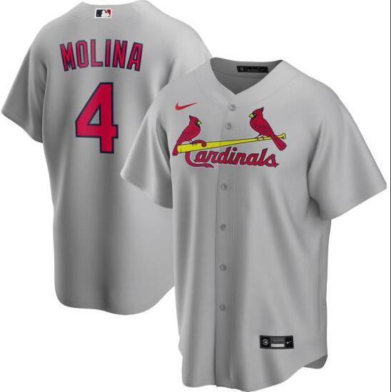 Cardinals 4 Yadier Molina Gray 2020 Nike Cool Base Jersey
