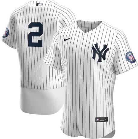 Yankees 2 Derek Jeter White Nike 2020 Nike Hall of Fame Induction Cool Base Jersey