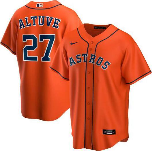 Astros 27 Jose Altuve Orange 2020 Nike Cool Base Jersey