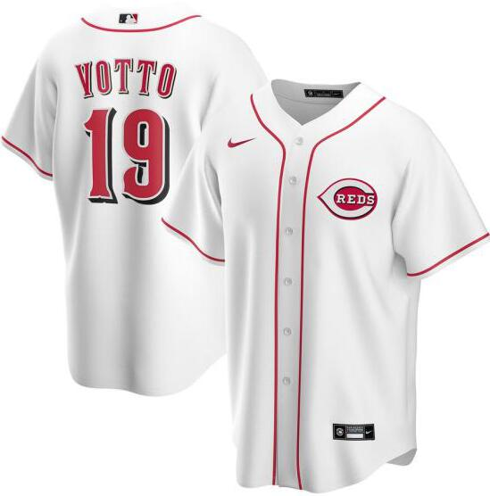 Reds 19 Joey Votto White Nike 2020 Cool Base Jersey