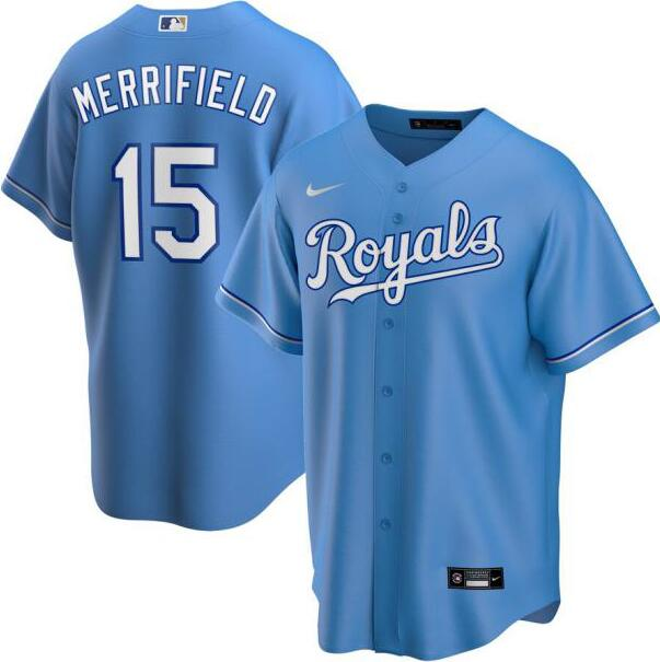 Royals 15 Whit Merrifield Light Blue 2020 Nike Cool Base Jersey