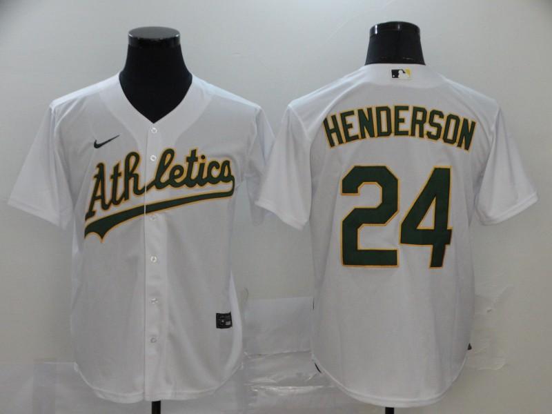 Athletics 24 Rickey Henderson White 2020 Nike Cool Base Jersey