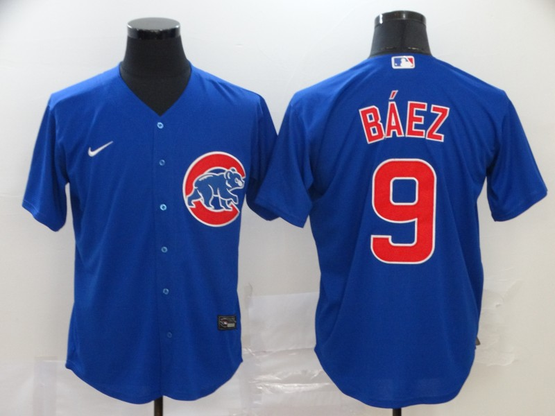 Cubs 9 Javier Baez Royal 2020 Nike Cool Base Jersey