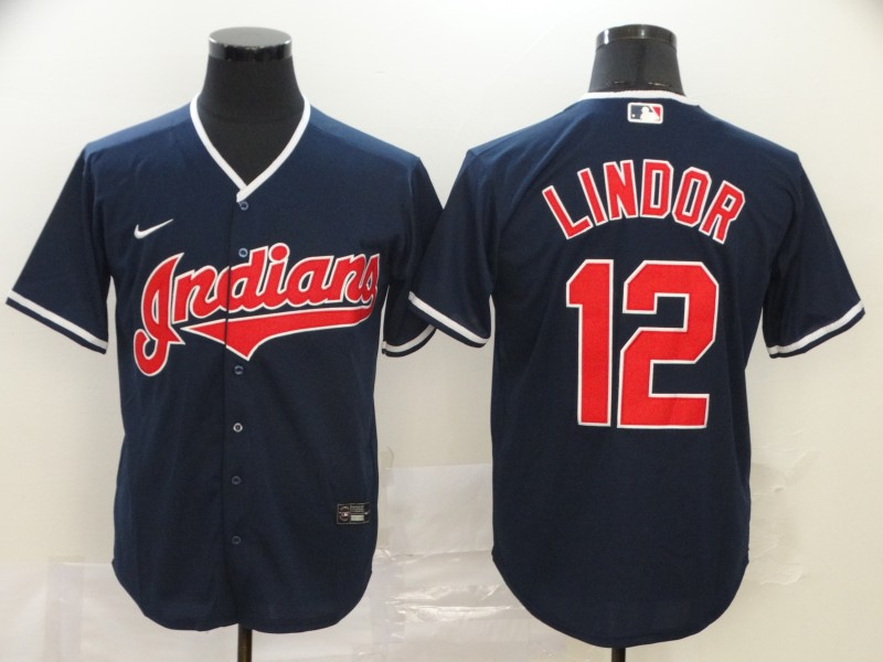 Indians 12 Francisco Lindor Black 2020 Nike Cool Base Jersey