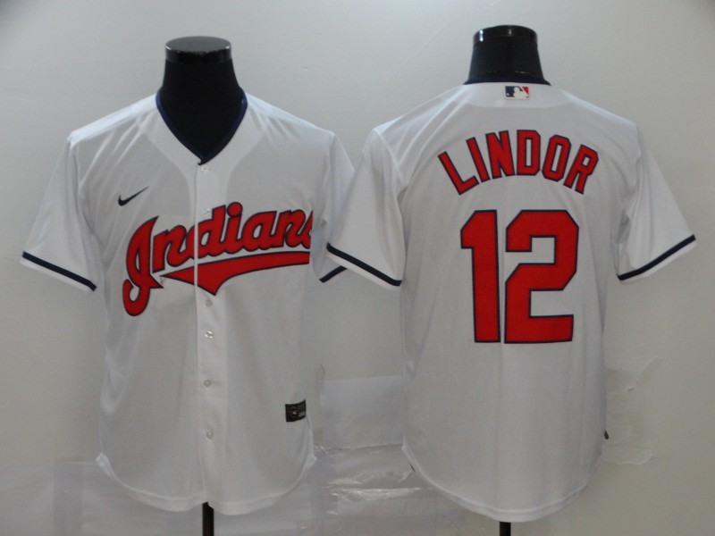 Indians 12 Francisco Lindor White 2020 Nike Cool Base Jersey