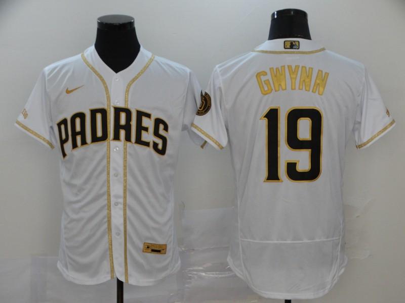 Padres 19 Tony Gwynn White Gold Nike 2020 Flexbase Jersey