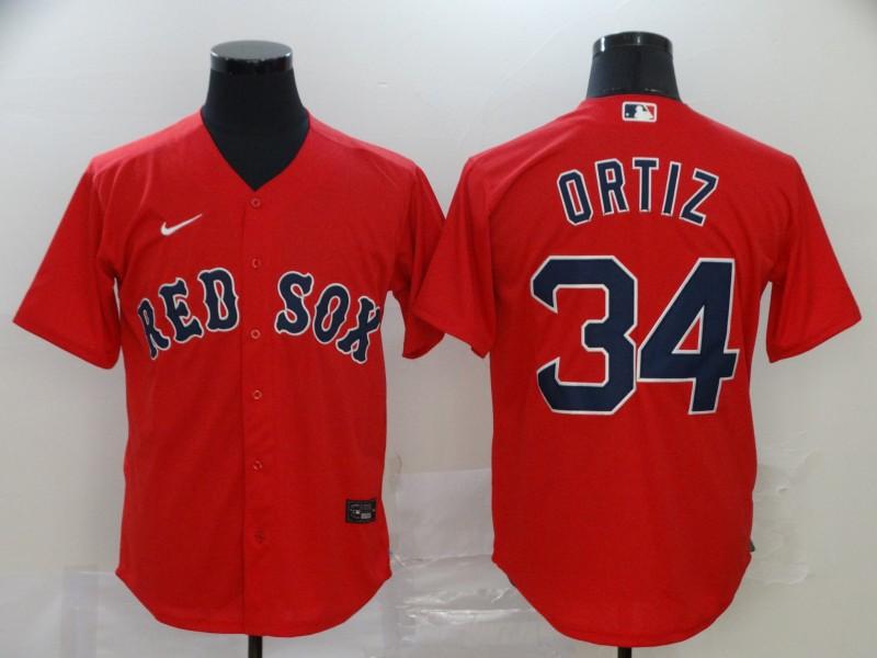 Red Sox 34 David Ortiz Red 2020 Nike Cool Base Jersey