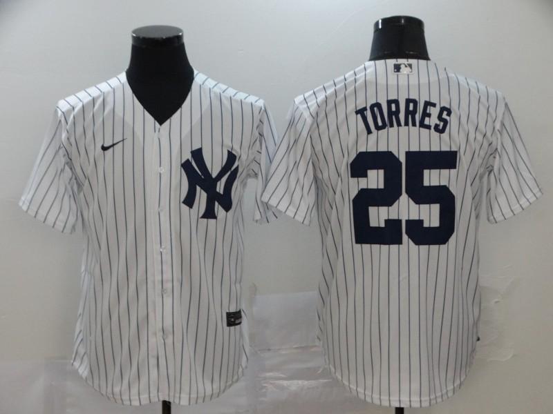 Yankees 25 Gleyber Torres White 2020 Nike Cool Base Jersey