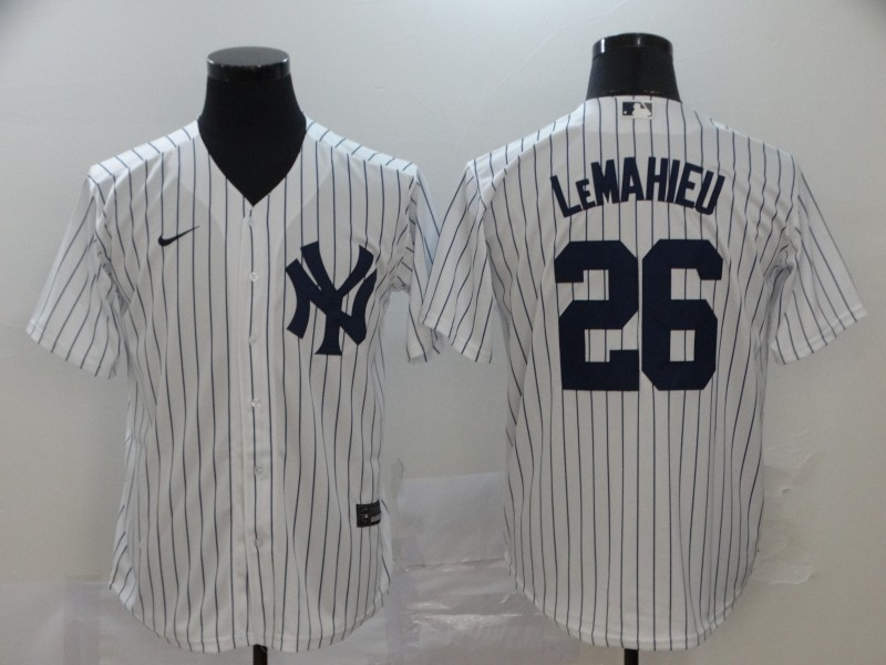 Yankees 26 DJ LeMahieu White 2020 Nike Cool Base Jersey