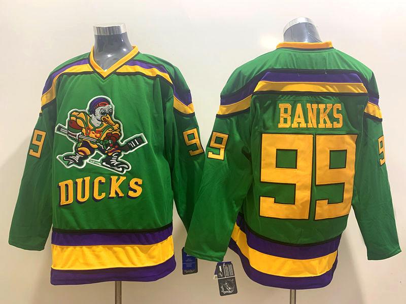 Ducks 99 Adam Banks Green CCM jersey