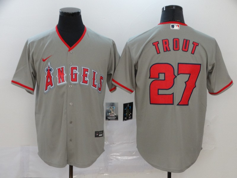 Angels 27 Mike Trout Gray 2020 Nike Cool Base Jersey