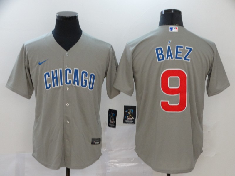 Cubs 9 Javier Baez Gray 2020 Nike Cool Base Jersey