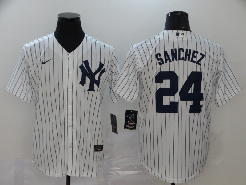 Yankees 24 Gary Sanchez White 2020 Nike Cool Base Jersey