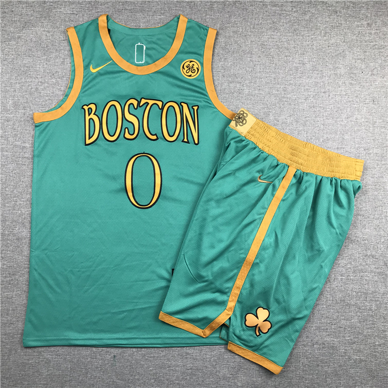 Celtics 0 Jayson Tatum Green City Edition Swingman Jersey(With Shorts)