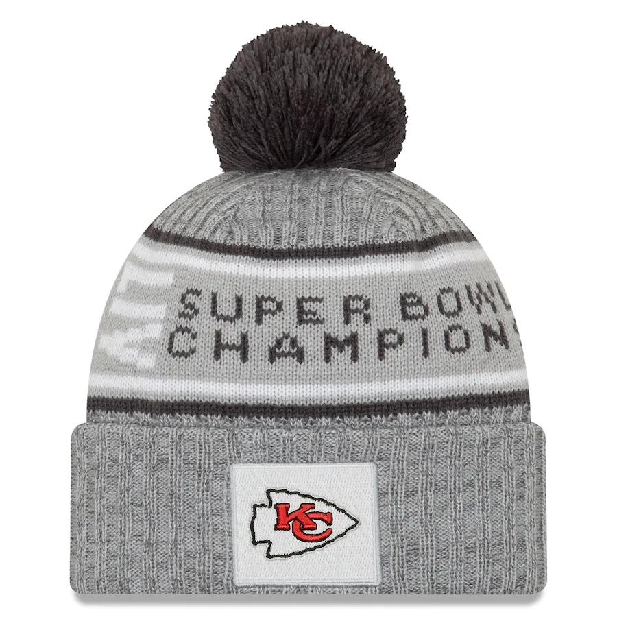 Chiefs Team Logo Gray 2020 Super Bowl LIV Champions Pom Knit Hat YP