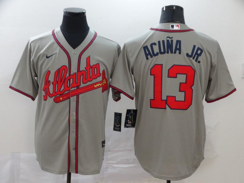 Braves 13 Ronald Acuna Jr. Gray 2020 Nike Cool Base Jersey