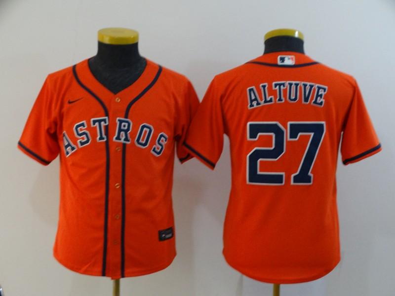 Astros 27 Jose Altuve Orange Youth 2020 Nike Cool Base Jersey