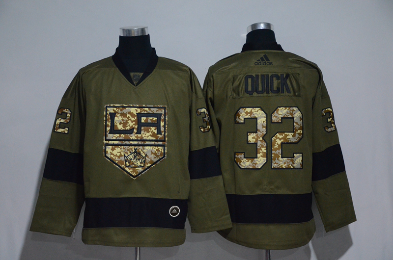 Kings 32 Jonathan Quick Olive Adidas Jersey