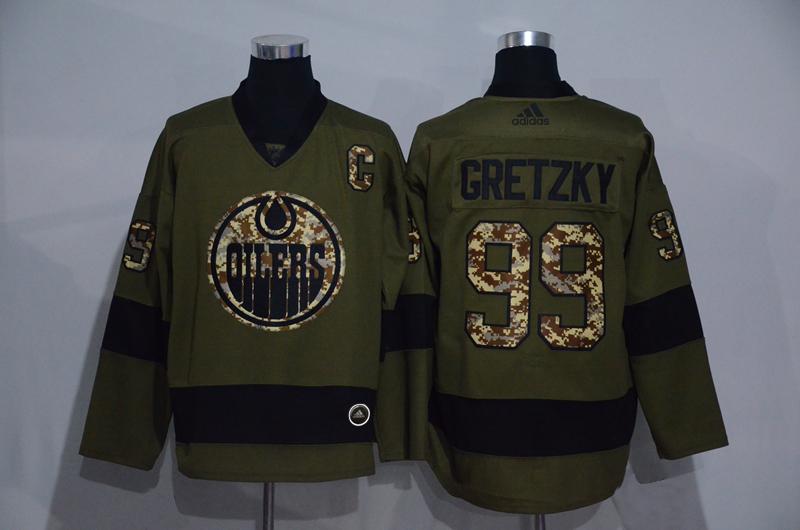 Oilers 99 Wayne Gretzky Olive Adidas Jersey