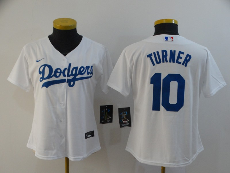 Dodgers 10 Justin Turner White Women 2020 Nike Cool Base Jersey