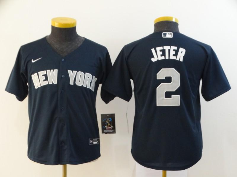 Yankees 2 Derek Jeter Navy Youth 2020 Nike Cool Base Jersey