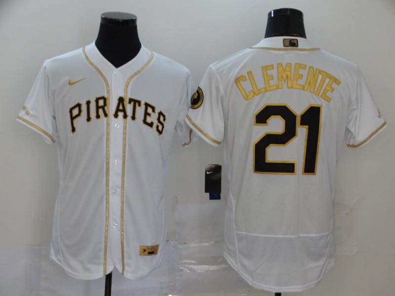 Pirates 21 Roberto Clemente White Gold 2020 Nike Flexbase Jersey