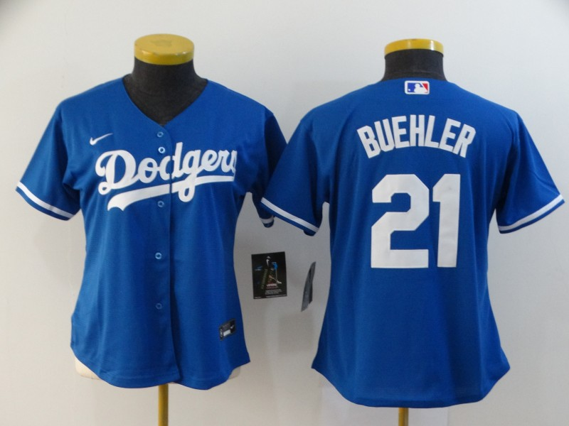 Dodgers 21 Walker Buehler Royal Women 2020 Nike Cool Base Jersey