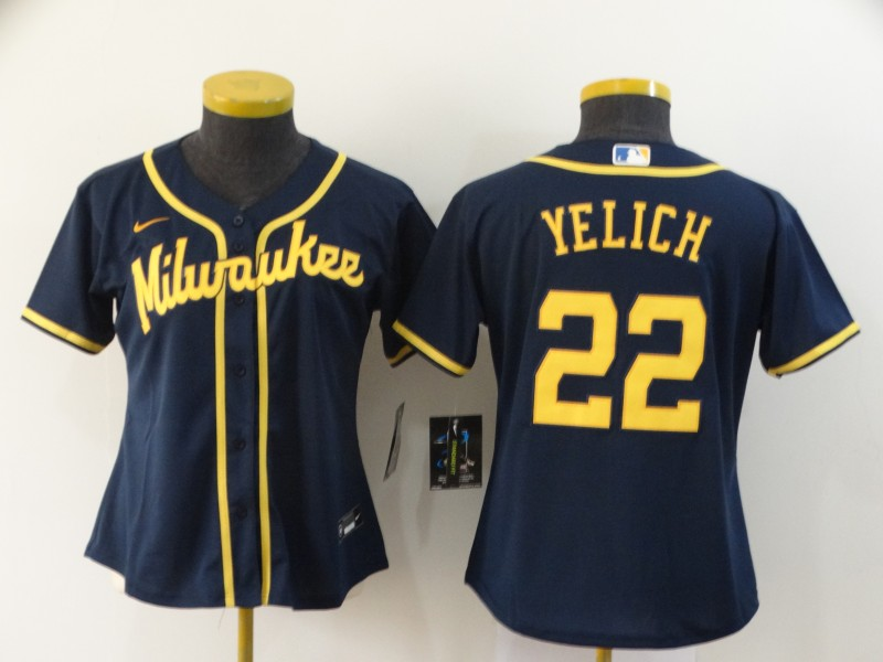 Brewers 22 Christian Yelich Navy Women Nike 2020 Cool Base Jersey