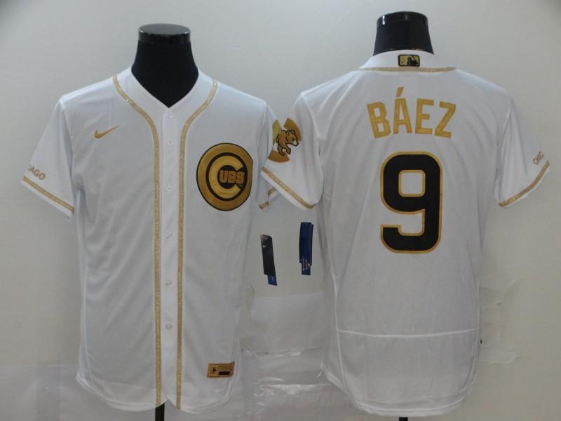 Cubs 9 Javier Baez White Gold Nike Flexbase Jersey