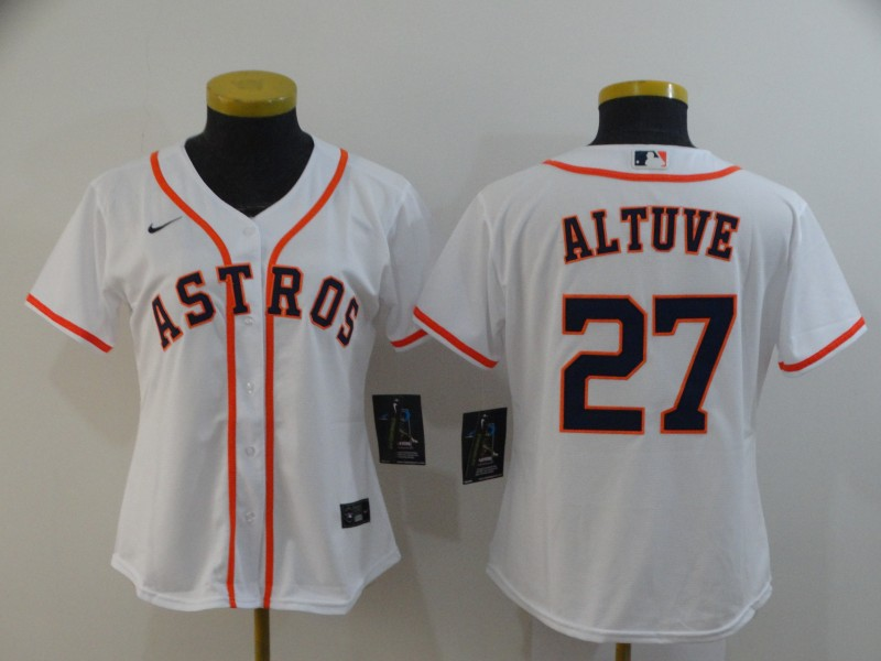 Astros 27 Jose Altuve White Women 2020 Nike Cool Base Jersey