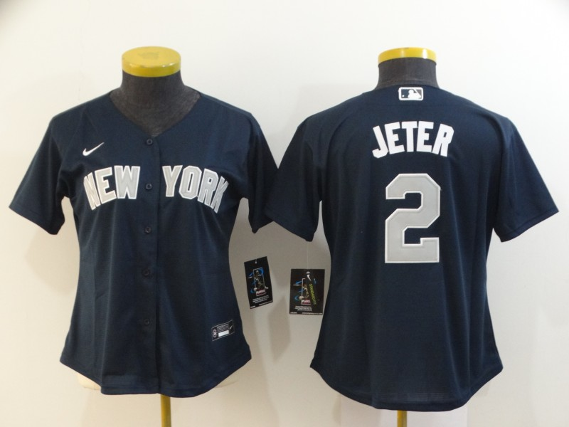 Yankees 2 Derek Jeter Navy Women 2020 Nike Cool Base Jersey