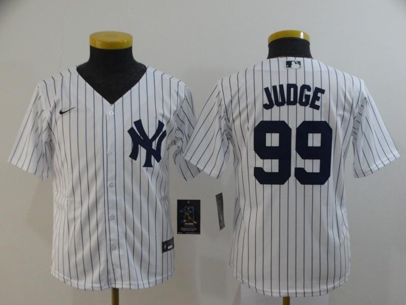 Yankees 99 Aaron Judge White Youth 2020 Nike Cool Base Jersey