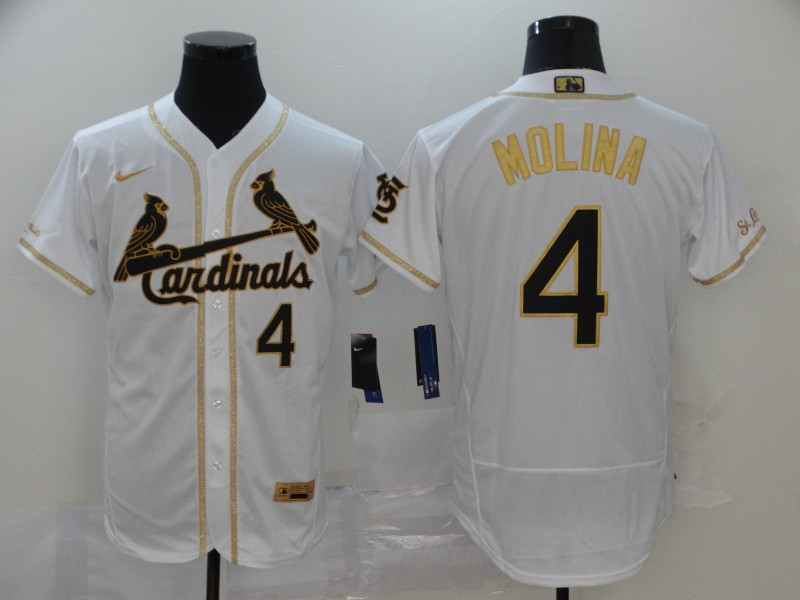 Cardinals 4 Yadier Molina White Gold Nike Flexbase Jersey
