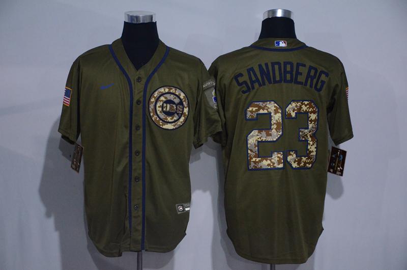Cubs 23 Ryne Sandberg Olive 2020 Nike Cool Base Jersey