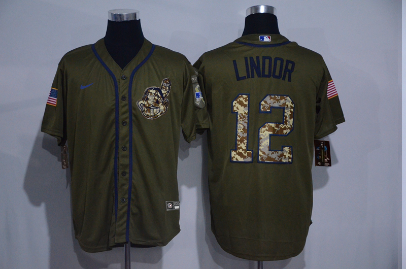 Indians 12 Francisco Lindor Olive 2020 Nike Cool Base Jersey