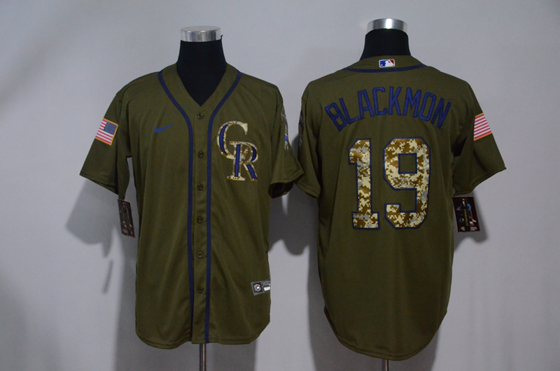 Rockies 19 Charlie Blackmon Olive 2020 Nike Cool Base Jersey