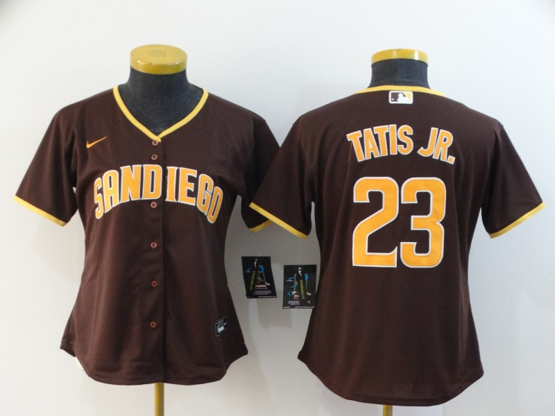 Padres 23 Fernando Tatis Jr. Brown Women Nike 2020 Cool Base Jersey