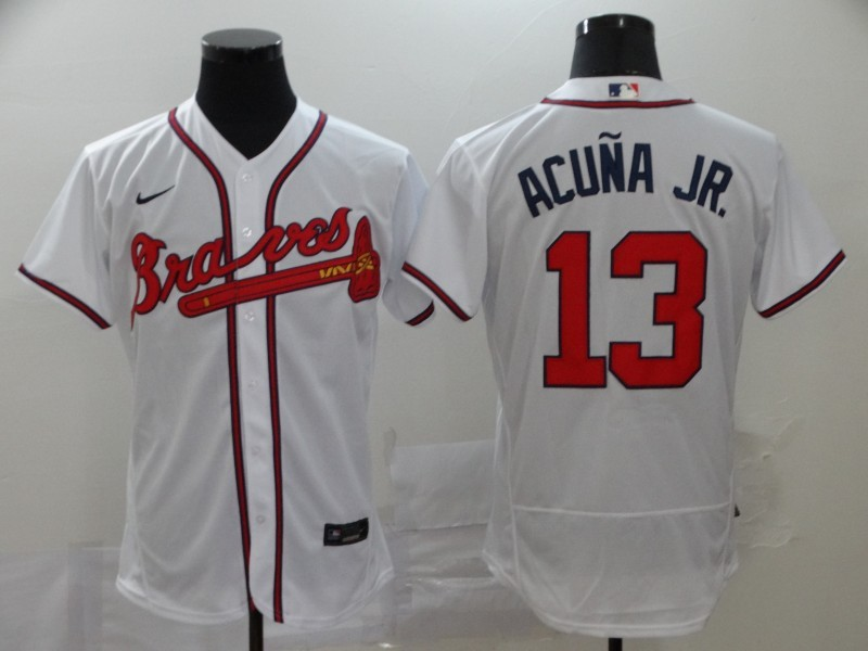 Braves 13 Ronald Acuna Jr. White 2020 Nike Flexbase Jersey