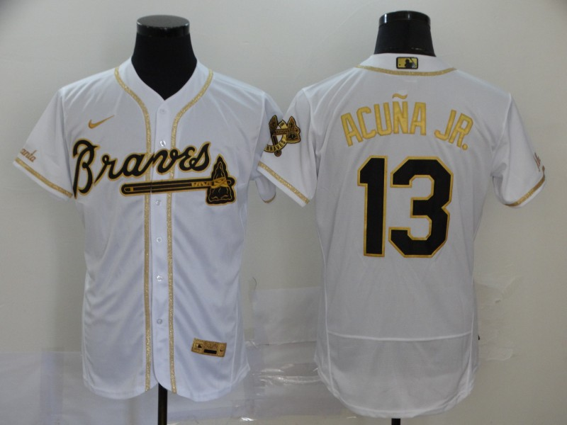 Braves 13 Ronald Acuna Jr. White Gold 2020 Nike Flexbase Jersey