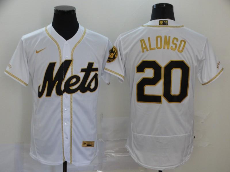 Mets 20 Pete Alonso White Gold 2020 Nike Flexbase Jersey