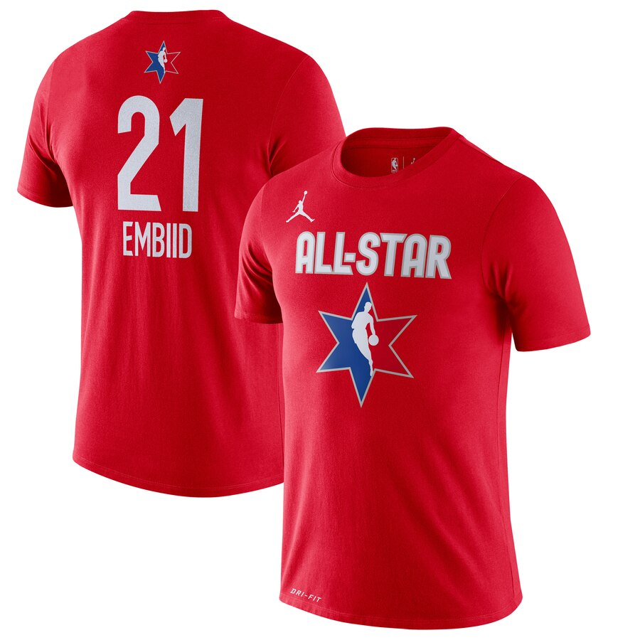 Jordan Brand Joel Embiid Red 2020 NBA All-Star Game Name & Number Player T-Shirt