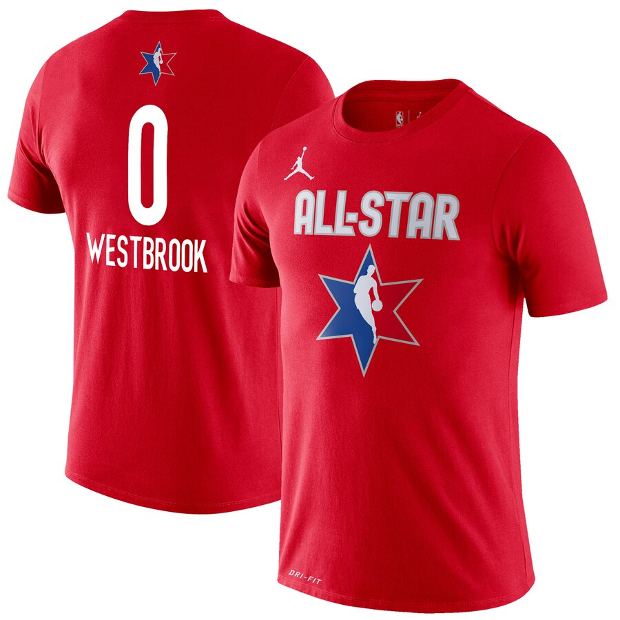 Russell Westbrook Jordan Brand 2020 NBA All-Star Game Name & Number Player T-Shirt Red