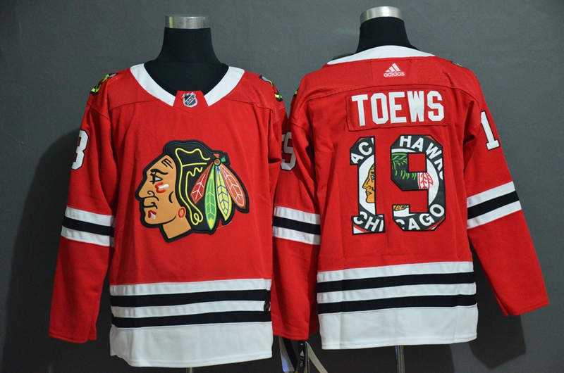 Blackhawks 19 Jonathan Toews Red Fashion Adidas Jersey