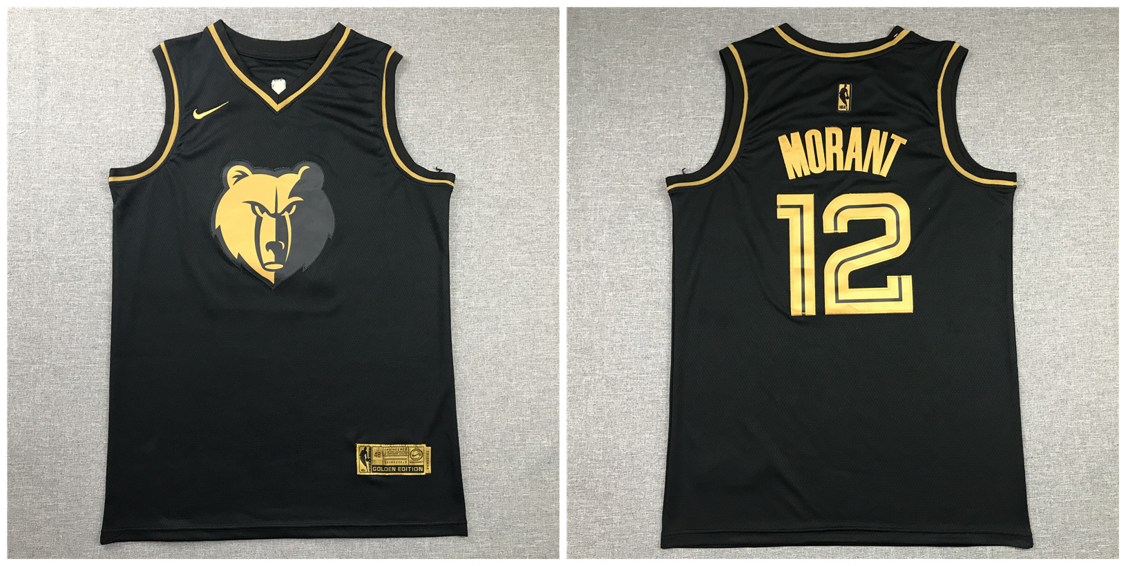 Grizzlies 12 Ja Morant Black Gold Nike Swingman Jersey